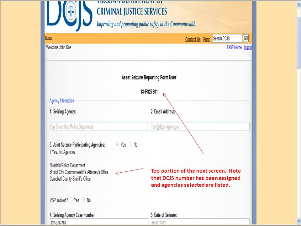 Top portion of the next screen. Note that DCJS number has been assigned and agencies selected are listed.