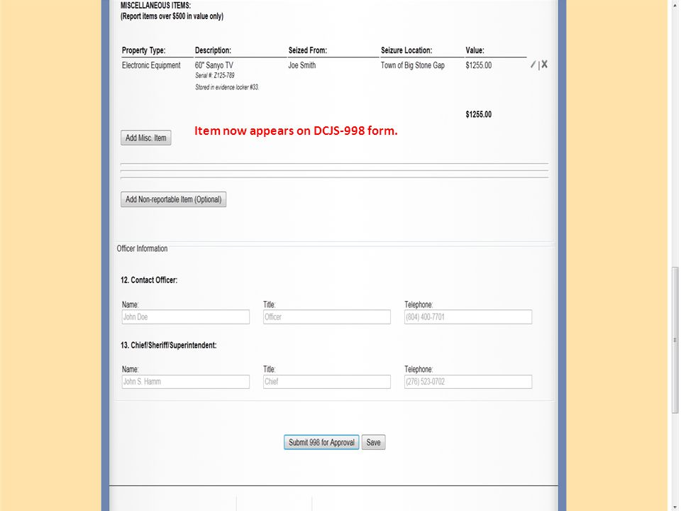 Item now appears on DCJS-998 form.