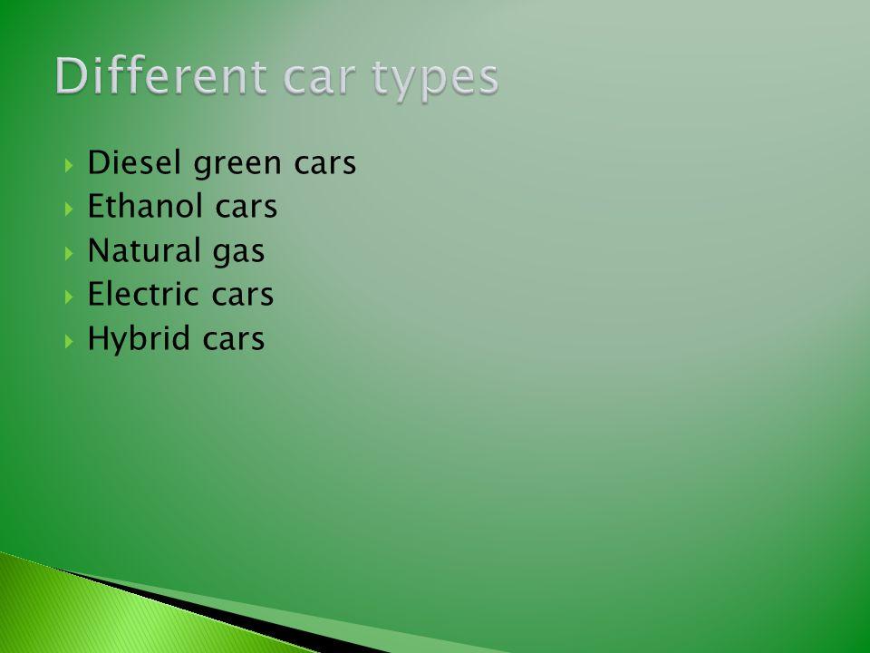  Diesel green cars  Ethanol cars  Natural gas  Electric cars  Hybrid cars