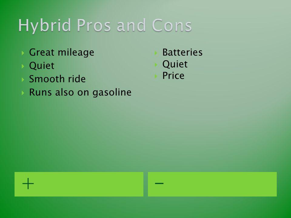 +-  Great mileage  Quiet  Smooth ride  Runs also on gasoline  Batteries  Quiet  Price