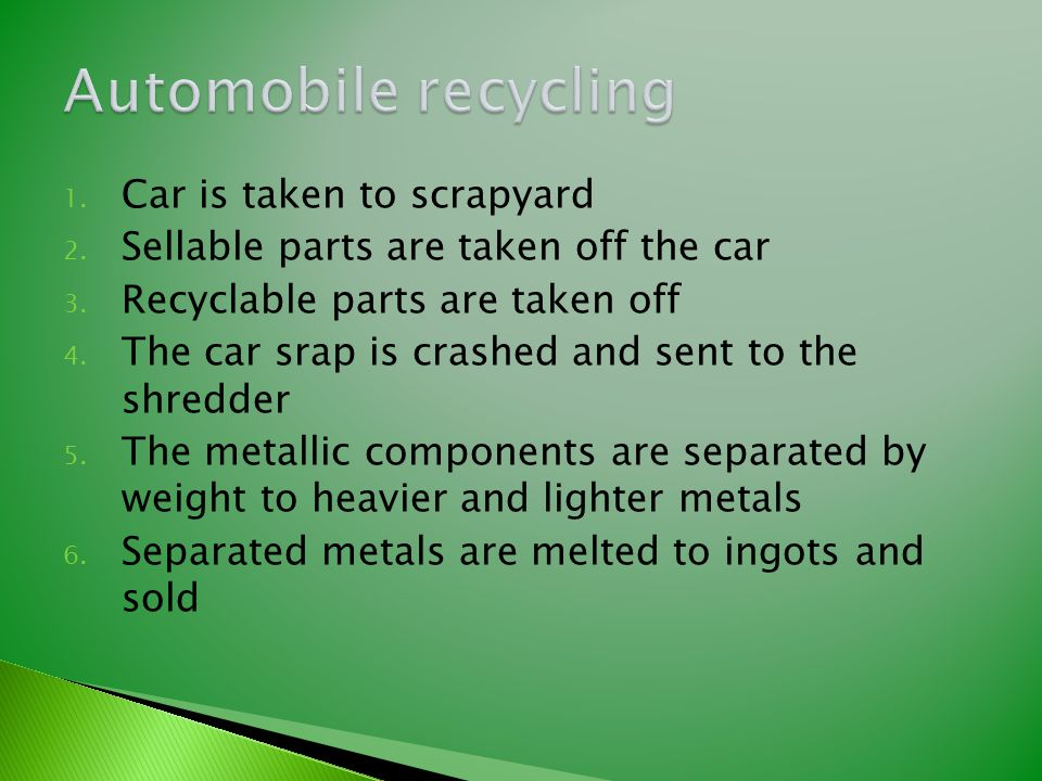 1. Car is taken to scrapyard 2. Sellable parts are taken off the car 3. Recyclable parts are taken off 4. The car srap is crashed and sent to the shre