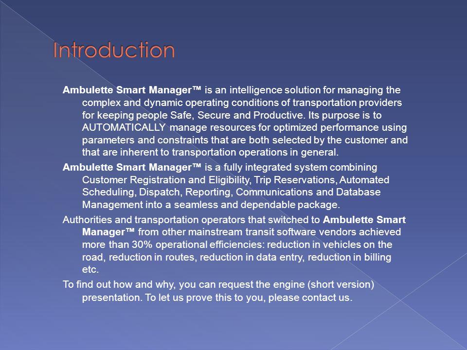 Ambulette Smart Manager Email: support@ambulette.com