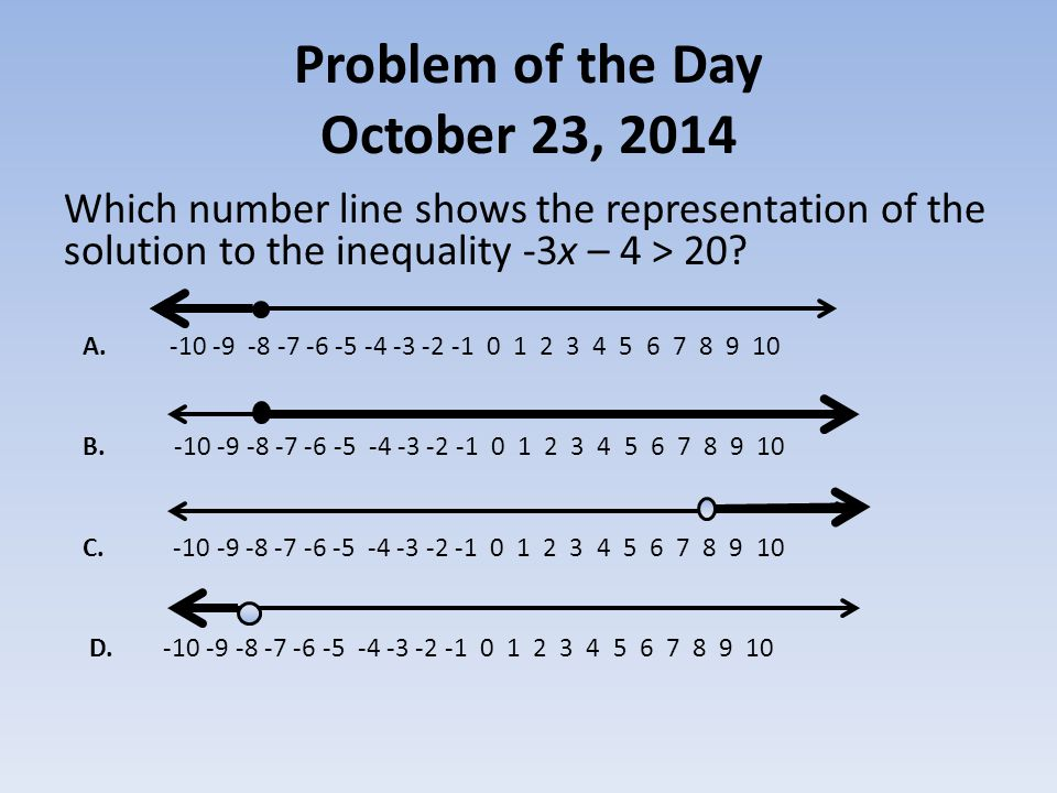 Problem of the Day October 23, 2014 Which number line shows the representation of the solution to the inequality -3x – 4 > 20.
