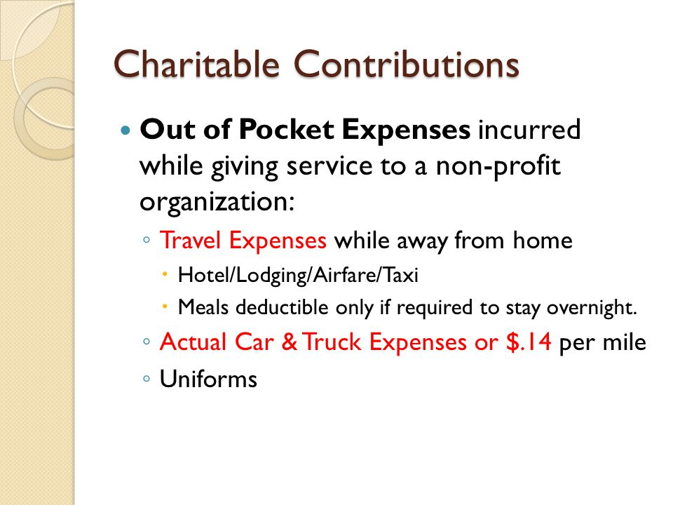 Out of Pocket Expenses incurred while giving service to a non-profit organization: ◦ Travel Expenses while away from home  Hotel/Lodging/Airfare/Taxi