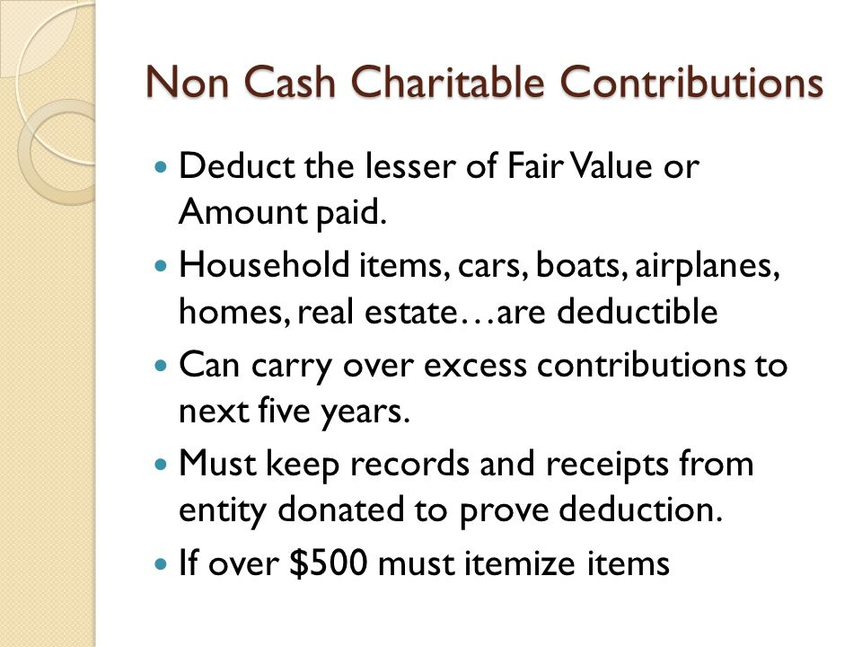 Non Cash Charitable Contributions Deduct the lesser of Fair Value or Amount paid.