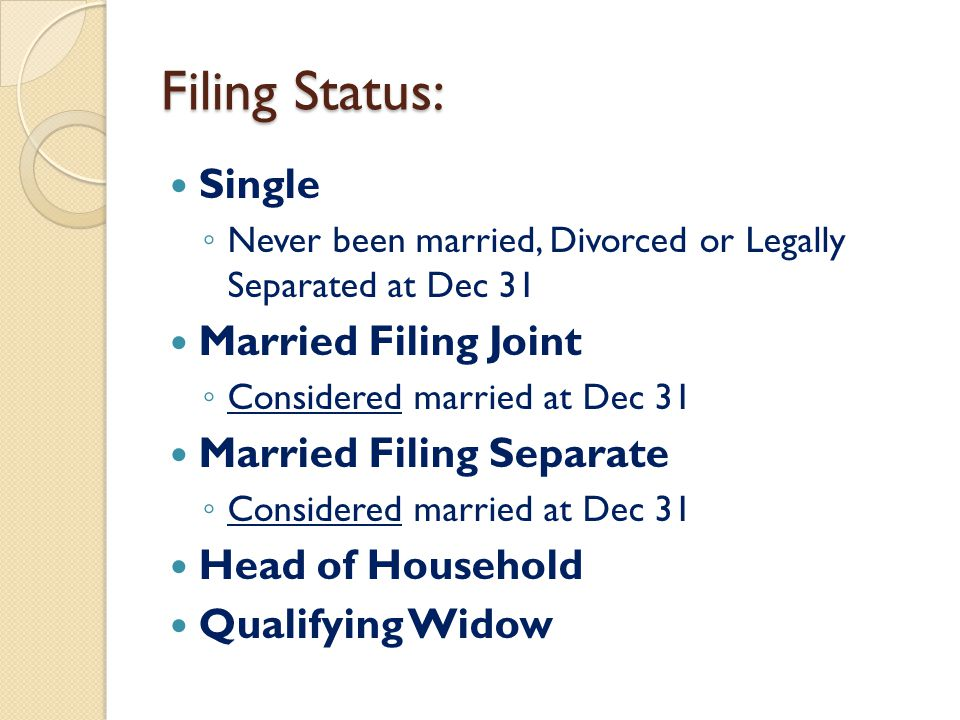 Filing Status: Single ◦ Never been married, Divorced or Legally Separated at Dec 31 Married Filing Joint ◦ Considered married at Dec 31 Married Filing Separate ◦ Considered married at Dec 31 Head of Household Qualifying Widow