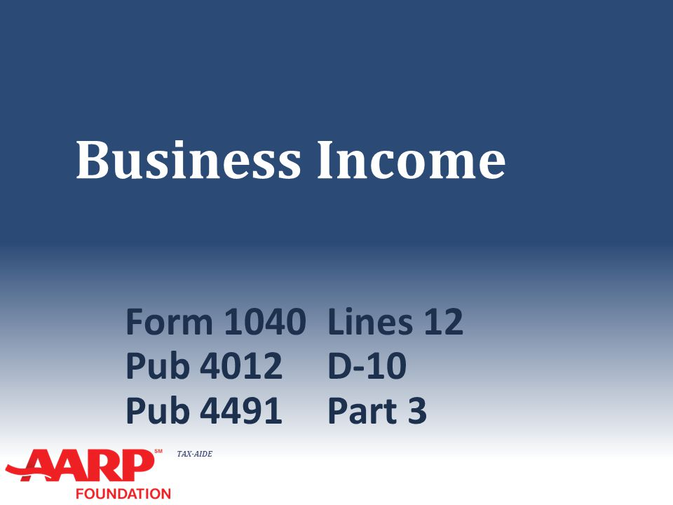 TAX-AIDE Schedule C Input NTTC Training – TY 2014 22 The tax form
