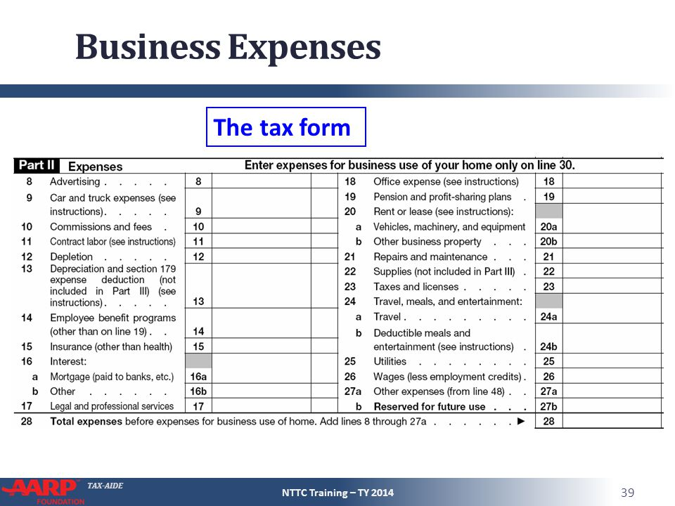 TAX-AIDE Business Expenses NTTC Training – TY 2014 39 The tax form