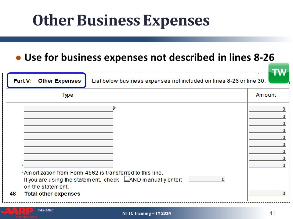 TAX-AIDE Other Business Expenses ● Use for business expenses not described in lines 8-26 NTTC Training – TY 2014 41