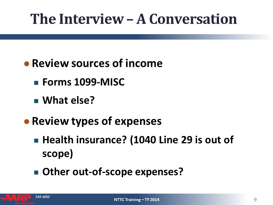 TAX-AIDE The Interview – A Conversation ● Review sources of income Forms 1099-MISC What else.
