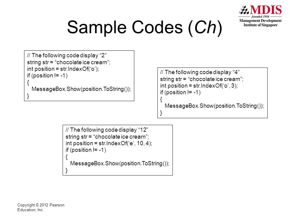 Sample Codes (Ch) Copyright © 2012 Pearson Education, Inc.