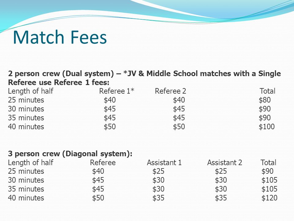 Match Fees 2 person crew (Dual system) – *JV & Middle School matches with a Single Referee use Referee 1 fees: Length of half Referee 1* Referee 2 Total 25 minutes $40 $40 $80 30 minutes $45 $45 $90 35 minutes $45 $45 $90 40 minutes $50 $50 $100 3 person crew (Diagonal system): Length of half Referee Assistant 1 Assistant 2 Total 25 minutes $40 $25 $25 $90 30 minutes $45 $30 $30 $105 35 minutes $45 $30 $30 $105 40 minutes $50 $35 $35 $120
