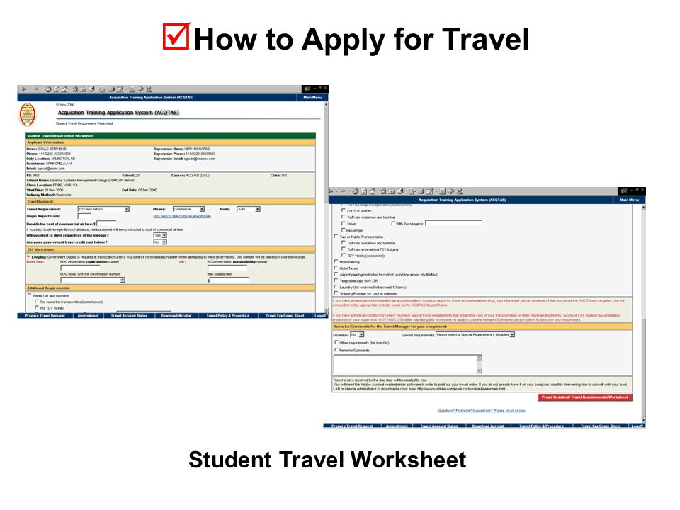  How to Apply for Travel Student Travel Worksheet