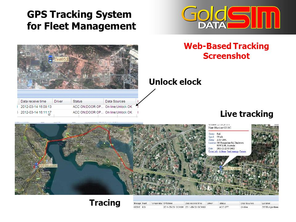 Web-Based Tracking Screenshot Unlock elock Tracing Live tracking GPS Tracking System for Fleet Management