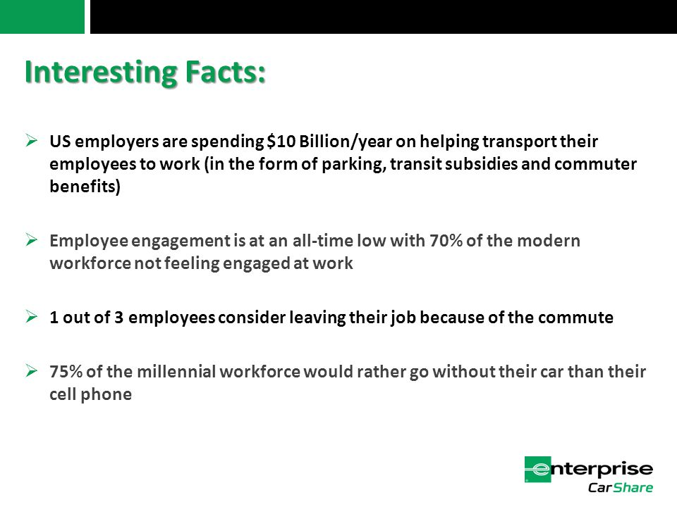 Interesting Facts:  US employers are spending $10 Billion/year on helping transport their employees to work (in the form of parking, transit subsidies and commuter benefits)  Employee engagement is at an all-time low with 70% of the modern workforce not feeling engaged at work  1 out of 3 employees consider leaving their job because of the commute  75% of the millennial workforce would rather go without their car than their cell phone