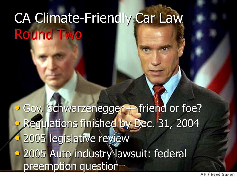 CA Climate-Friendly Car Law Round Two Gov. Schwarzenegger — friend or foe.