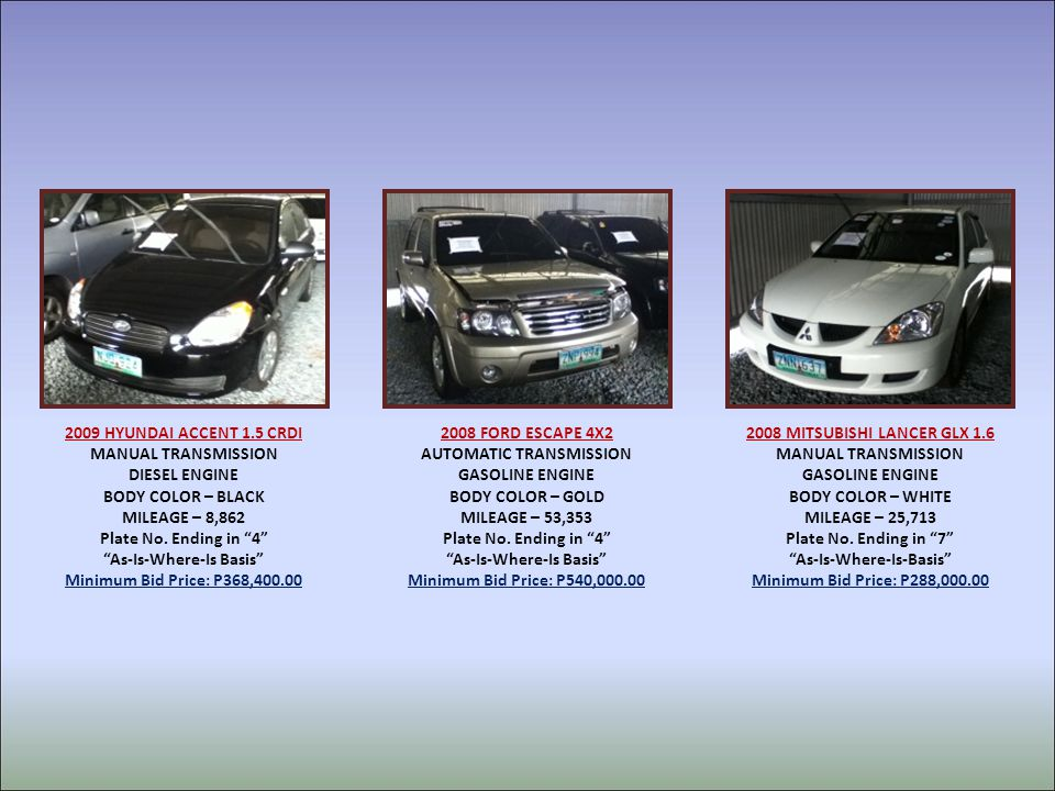 2009 HYUNDAI ACCENT 1.5 CRDI MANUAL TRANSMISSION DIESEL ENGINE BODY COLOR – BLACK MILEAGE – 8,862 Plate No.
