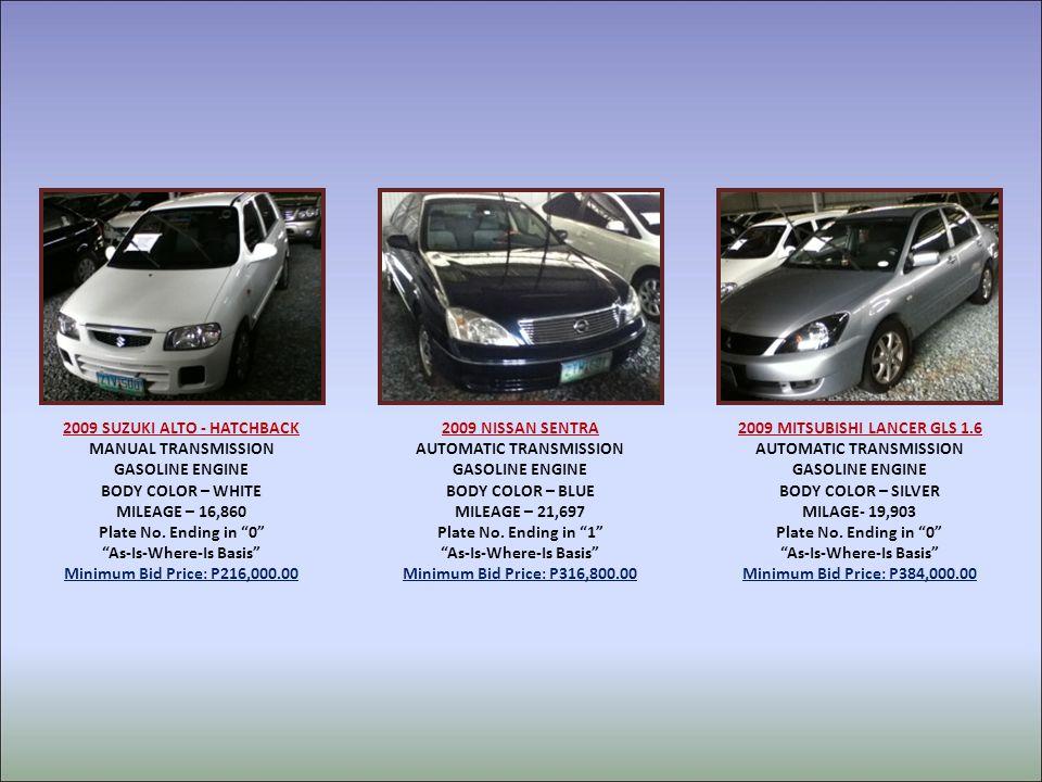 2009 SUZUKI ALTO - HATCHBACK MANUAL TRANSMISSION GASOLINE ENGINE BODY COLOR – WHITE MILEAGE – 16,860 Plate No.