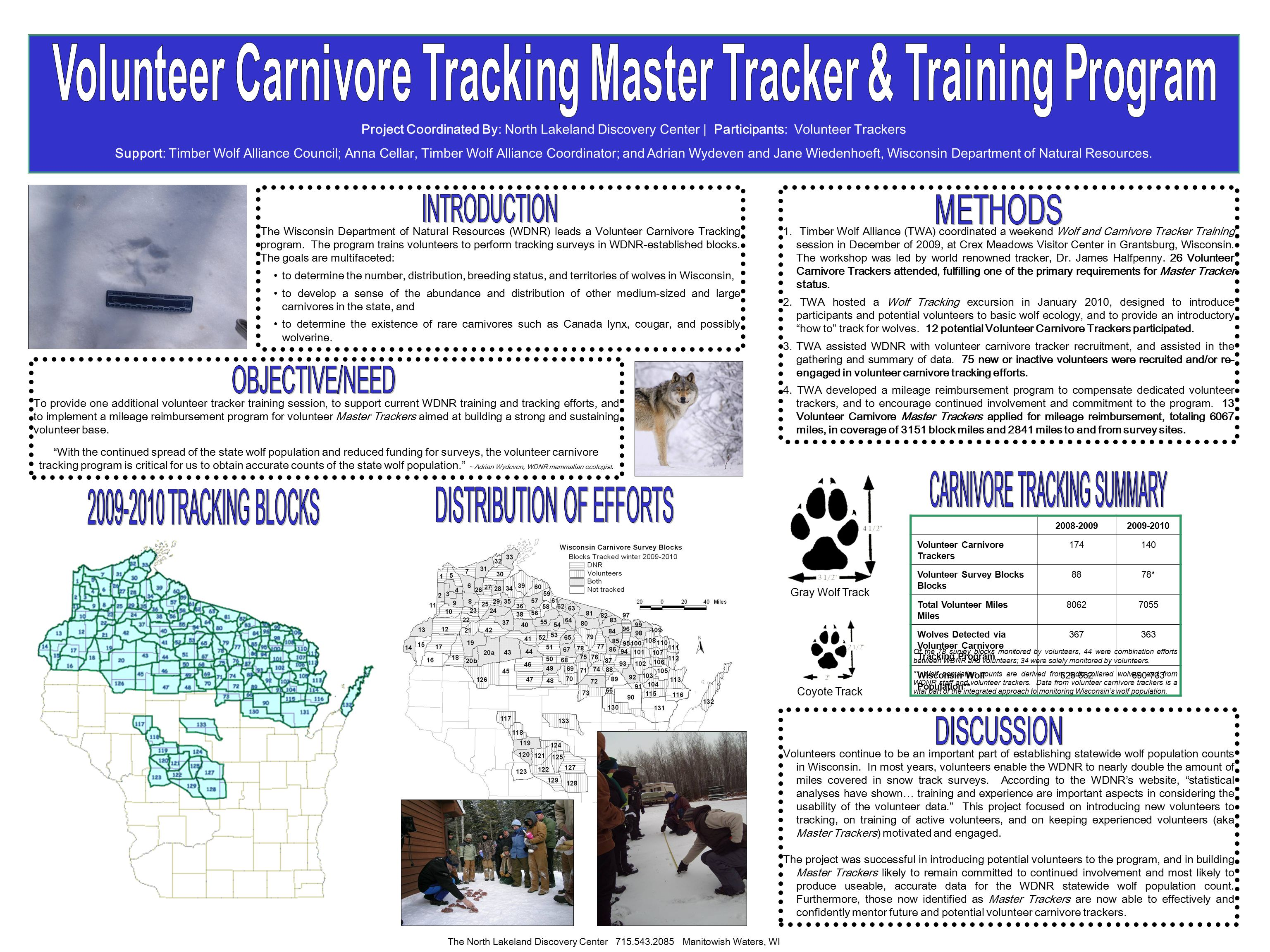 The Wisconsin Department of Natural Resources (WDNR) leads a Volunteer Carnivore Tracking program.