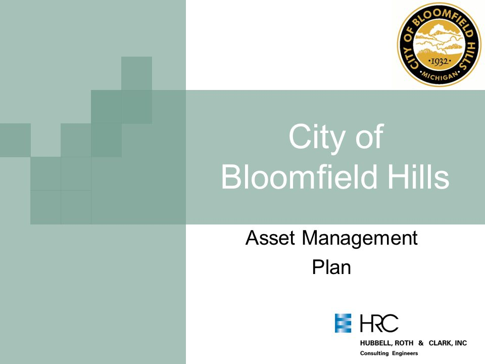 City of Bloomfield Hills Asset Management Plan