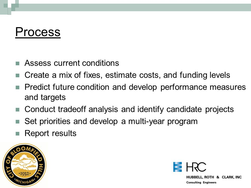 Process Assess current conditions Create a mix of fixes, estimate costs, and funding levels Predict future condition and develop performance measures and targets Conduct tradeoff analysis and identify candidate projects Set priorities and develop a multi-year program Report results