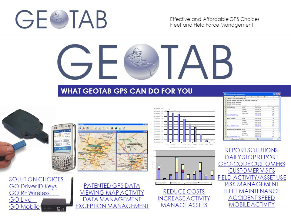 Effective and Affordable GPS Choices Fleet and Field Force Management GEOTAB Provides The power of GPS technology to work for businesses is driven from the quality of the data that is collected.