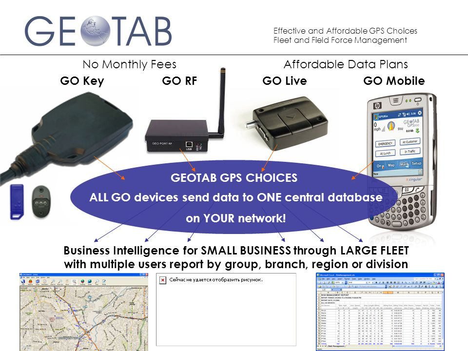 Effective and Affordable GPS Choices Fleet and Field Force Management GO Key Business Intelligence for SMALL BUSINESS through LARGE FLEET with multiple users report by group, branch, region or division GO RFGO LiveGO Mobile GEOTAB GPS CHOICES ALL GO devices send data to ONE central database on YOUR network.