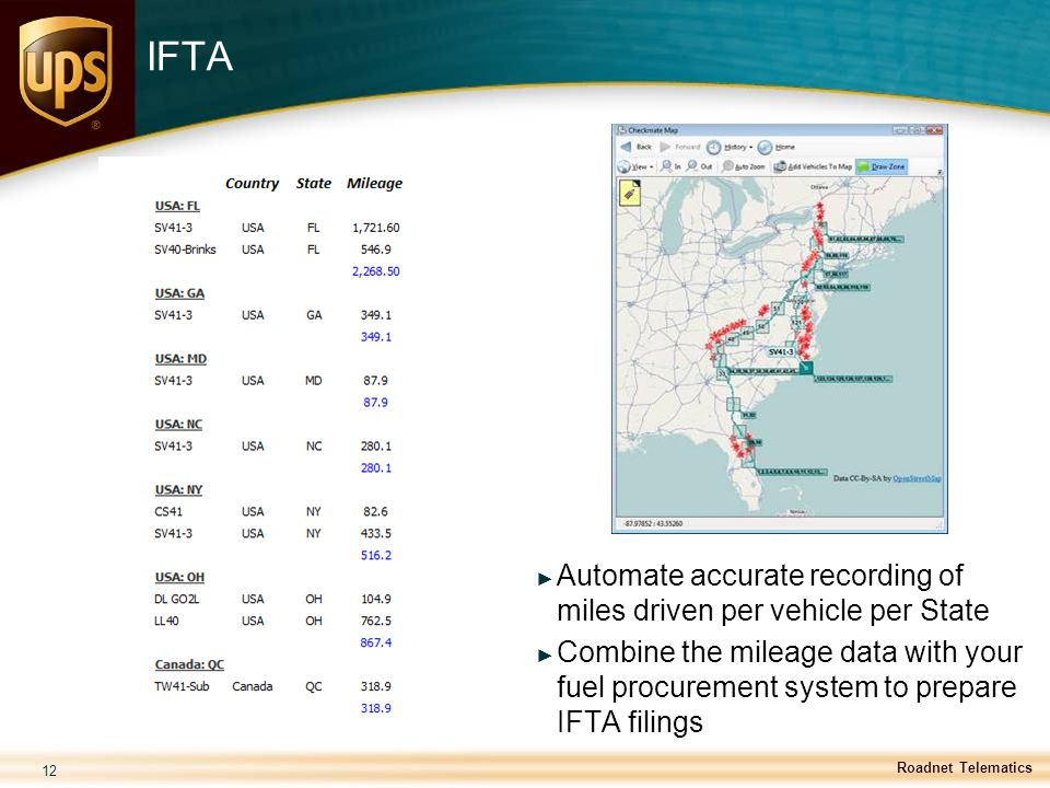 12 IFTA ► Automate accurate recording of miles driven per vehicle per State ► Combine the mileage data with your fuel procurement system to prepare IF