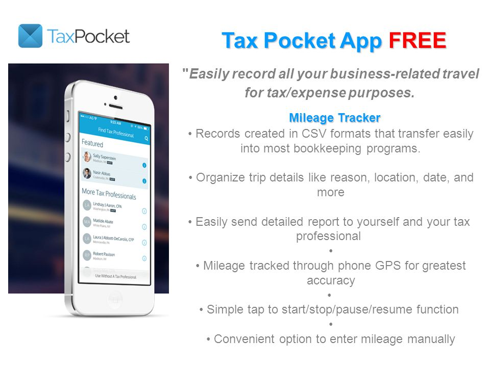 Tax Pocket App FREE Easily record all your business-related travel for tax/expense purposes.