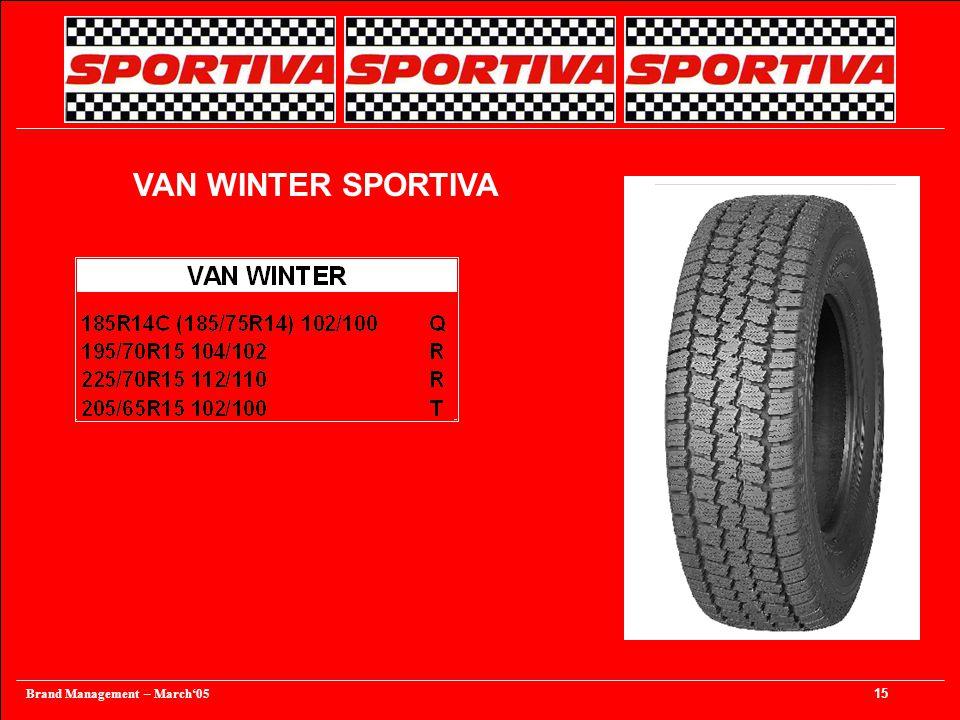 Brand Management – March'05 15 VAN WINTER SPORTIVA