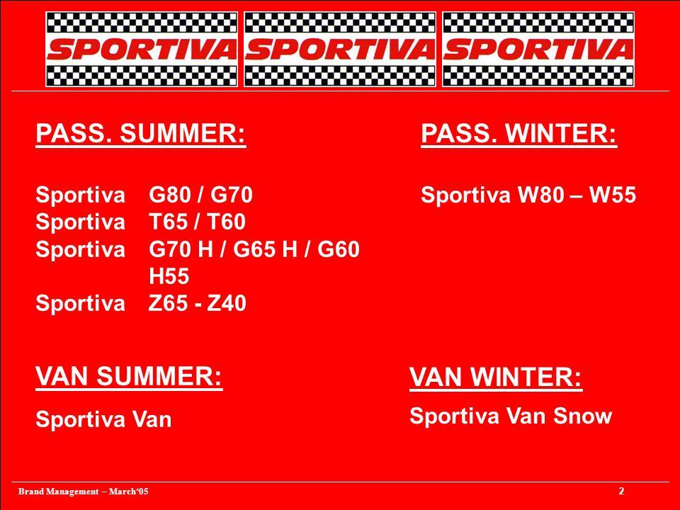 Brand Management – March'05 3 PASS. SUMMER SPORTIVA - T Sportiva Serie 80/70 G80 / G70