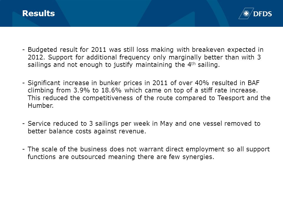 Results -Budgeted result for 2011 was still loss making with breakeven expected in 2012.