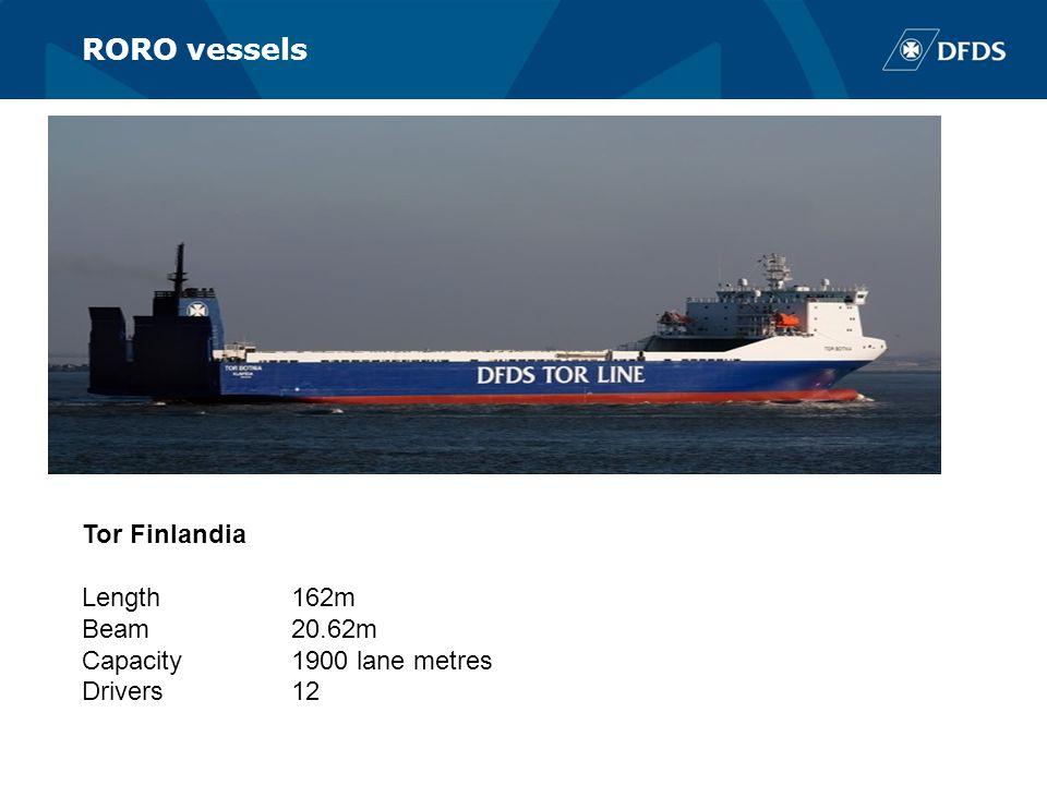 RORO vessels Tor Finlandia Length162m Beam20.62m Capacity1900 lane metres Drivers12