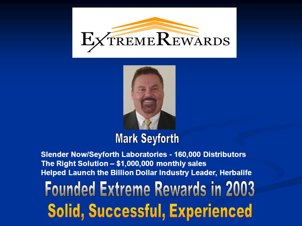 Slender Now/Seyforth Laboratories - 160,000 Distributors The Right Solution – $1,000,000 monthly sales Helped Launch the Billion Dollar Industry Leader, Herbalife