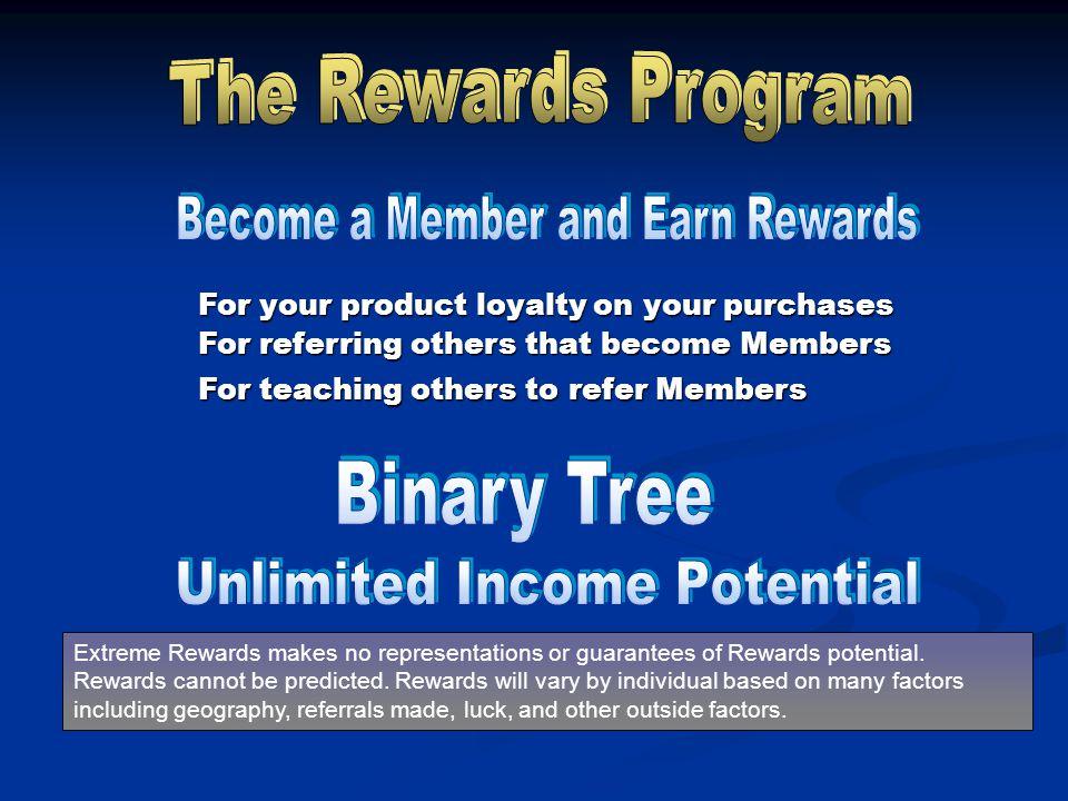 Extreme Rewards makes no representations or guarantees of Rewards potential.