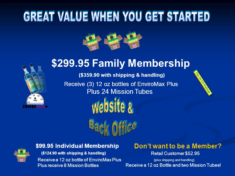 $99.95 Individual Membership Receive a 12 oz bottle of EnviroMax Plus Plus receive 8 Mission Bottles ($124.90 with shipping & handling) $299.95 Family Membership Receive (3) 12 oz bottles of EnviroMax Plus Plus 24 Mission Tubes ($359.90 with shipping & handling) Don't want to be a Member.
