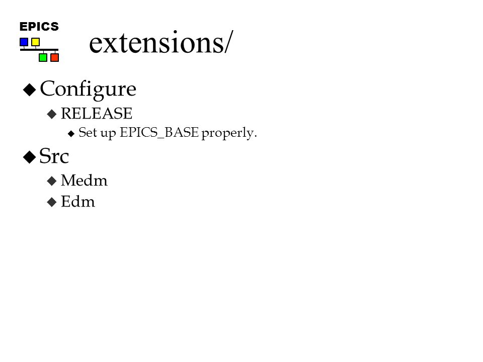 EPICS extensions/  Configure  RELEASE  Set up EPICS_BASE properly.  Src  Medm  Edm
