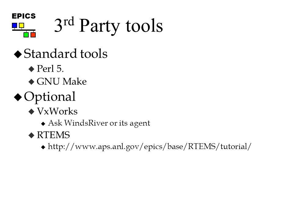 EPICS 3 rd Party tools  Standard tools  Perl 5.