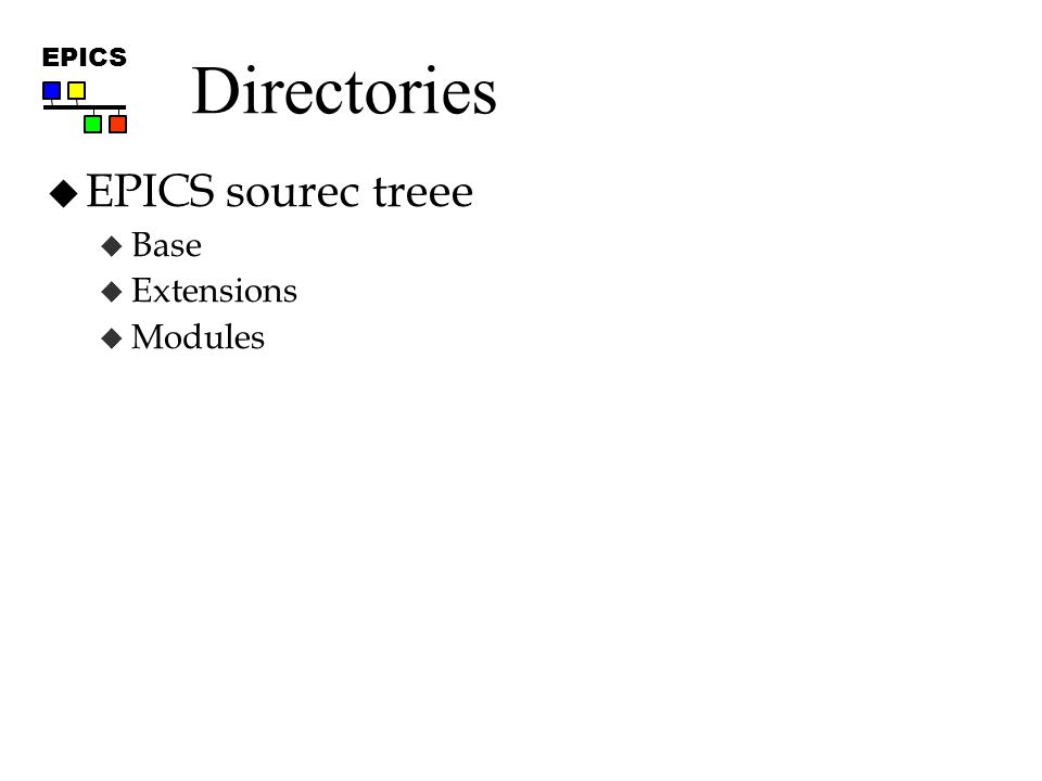 EPICS Directories  EPICS sourec treee  Base  Extensions  Modules