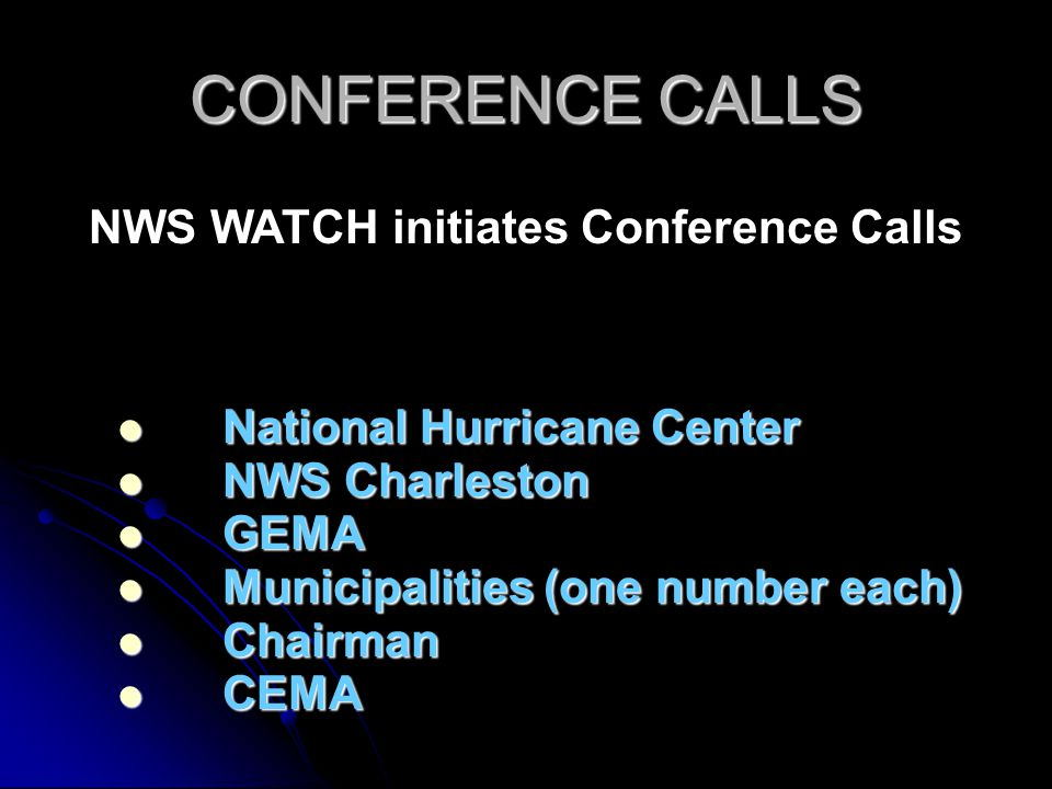 CONFERENCE CALLS National Hurricane Center National Hurricane Center NWS Charleston NWS Charleston GEMA GEMA Municipalities (one number each) Municipalities (one number each) Chairman Chairman CEMA CEMA NWS WATCH initiates Conference Calls