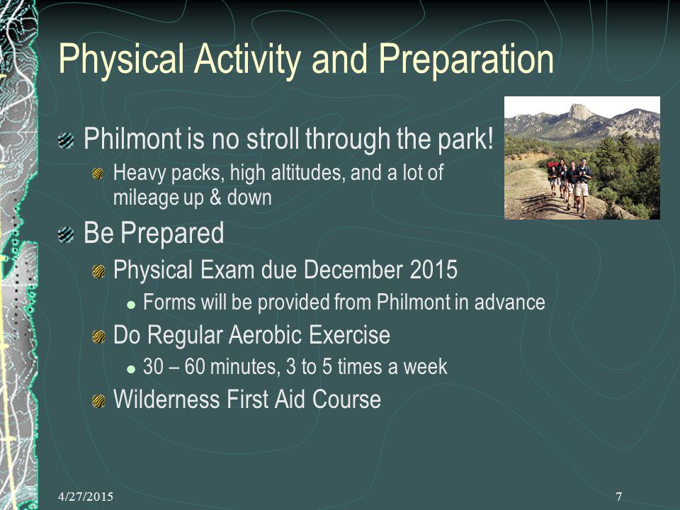 4/27/20158 Physical Activity, cont.
