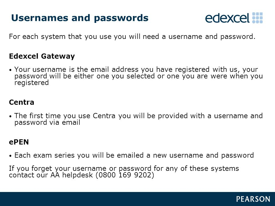 Usernames and passwords For each system that you use you will need a username and password.