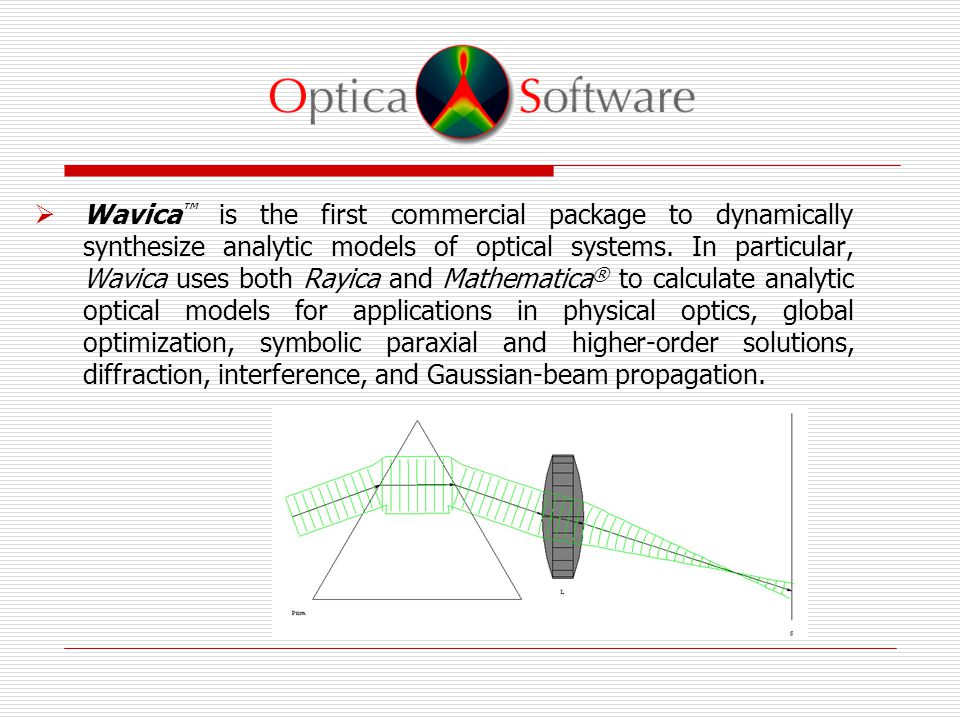  Wavica ™ is the first commercial package to dynamically synthesize analytic models of optical systems.
