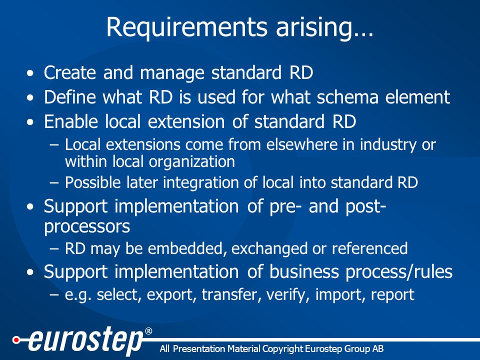 ® All Presentation Material Copyright Eurostep Group AB Requirements arising… Create and manage standard RD Define what RD is used for what schema element Enable local extension of standard RD –Local extensions come from elsewhere in industry or within local organization –Possible later integration of local into standard RD Support implementation of pre- and post- processors –RD may be embedded, exchanged or referenced Support implementation of business process/rules –e.g.