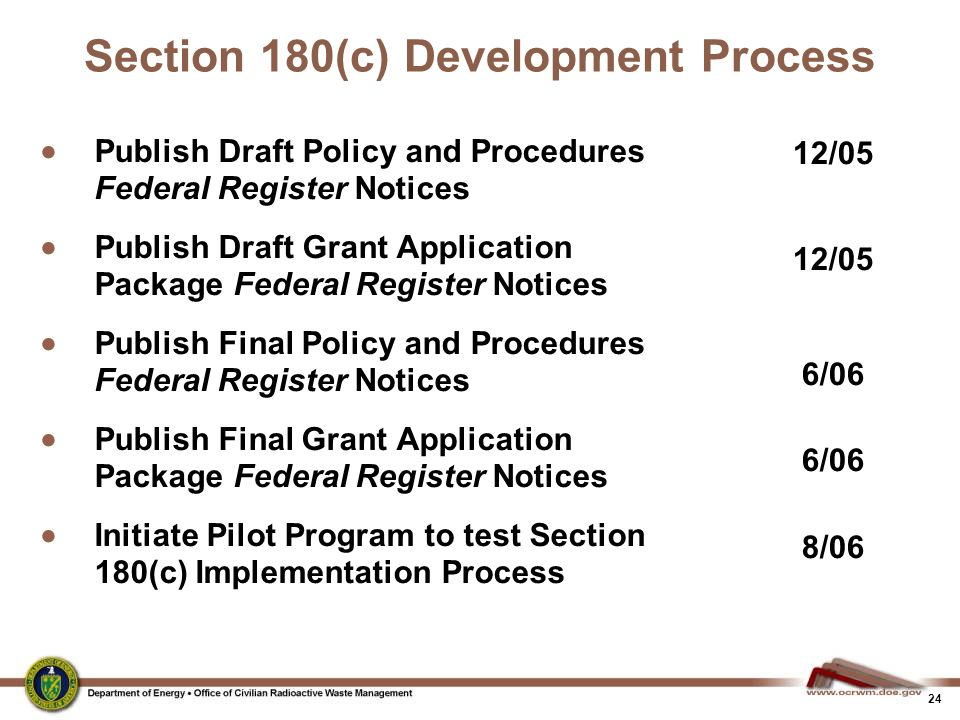 24 Section 180(c) Development Process  Publish Draft Policy and Procedures Federal Register Notices  Publish Draft Grant Application Package Federal Register Notices  Publish Final Policy and Procedures Federal Register Notices  Publish Final Grant Application Package Federal Register Notices  Initiate Pilot Program to test Section 180(c) Implementation Process 12/05 6/06 8/06