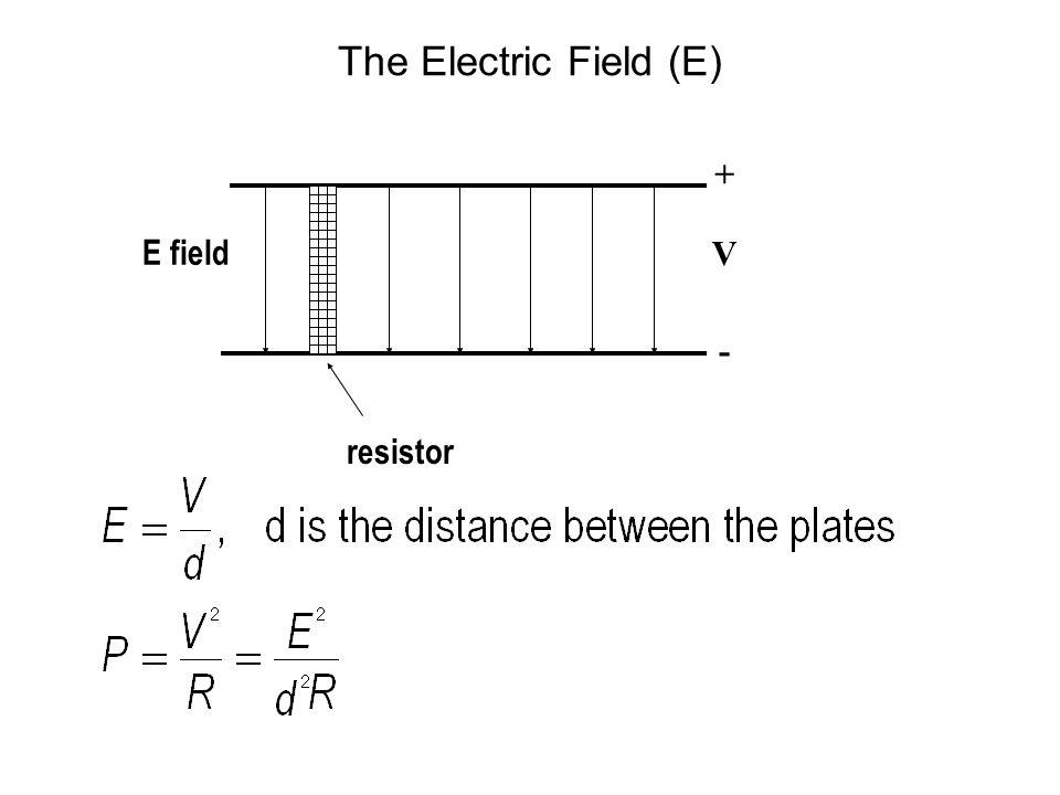 The Electric Field (E) + - V E field resistor