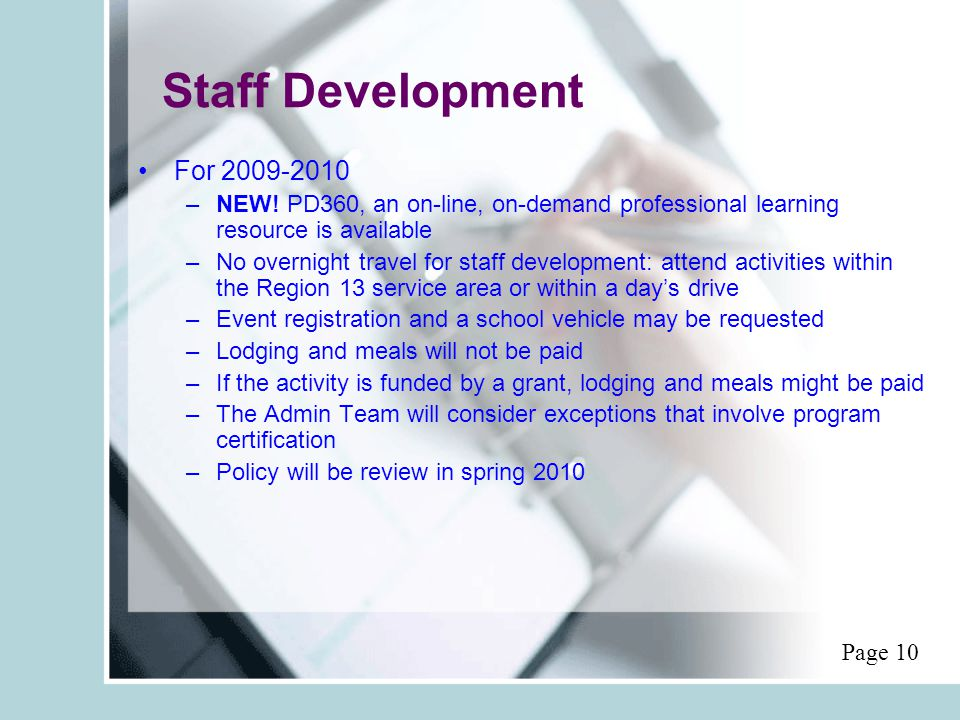 Staff Development For 2009-2010 –NEW.