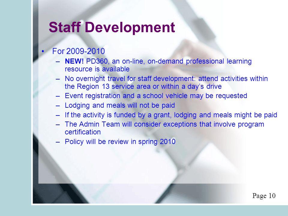 Staff Development For 2009-2010 –NEW.