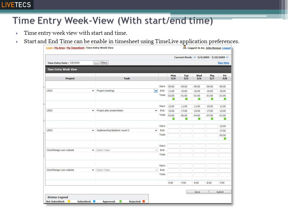  Time entry week view with start and time.