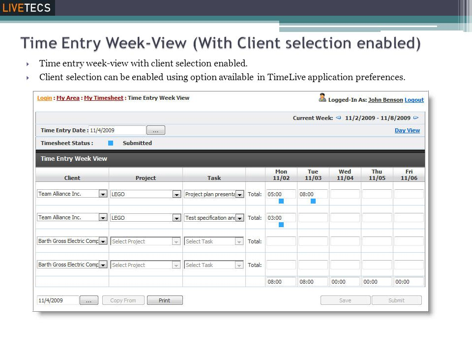  Time entry week-view with client selection enabled.